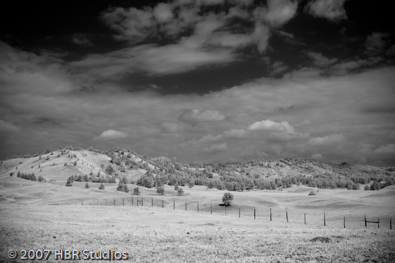 Field and Hills with Fence Infrared, Custer St. Park, SD, 2007